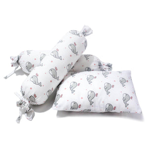 Grey Whale With Pink Dots Baby Bolster Pillow Set