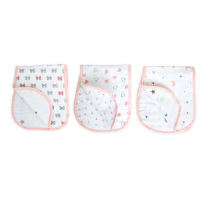 Pink Burp Cloth 3 Pcs