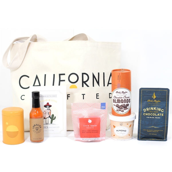 California Care Package - Golden State Tote Bag, candle, hot cocoa, snacks