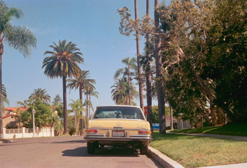 Field Notes from San Diego - Vintage Yellow Car & Palm Trees