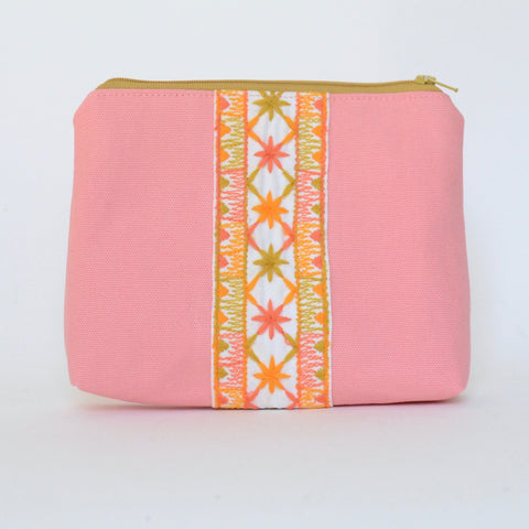 boho zip: coral pink + chartreuse and tangerine embroidery
