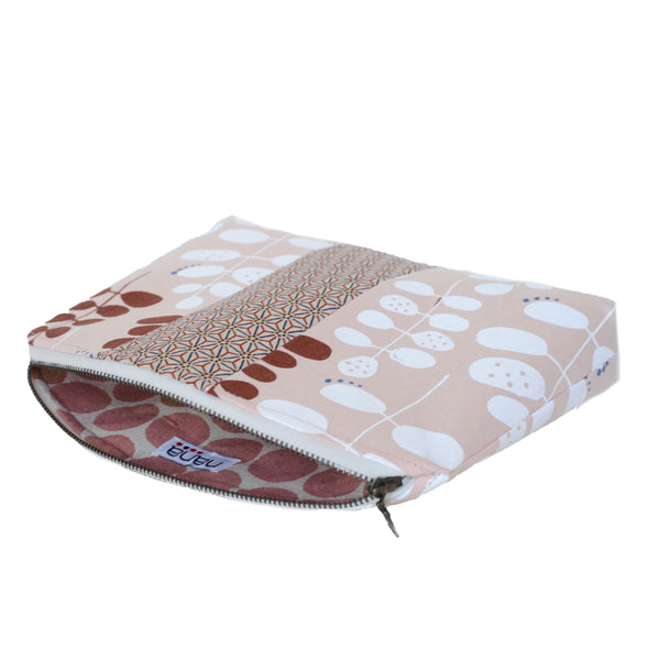 medley pouch: pink with modern leaf print