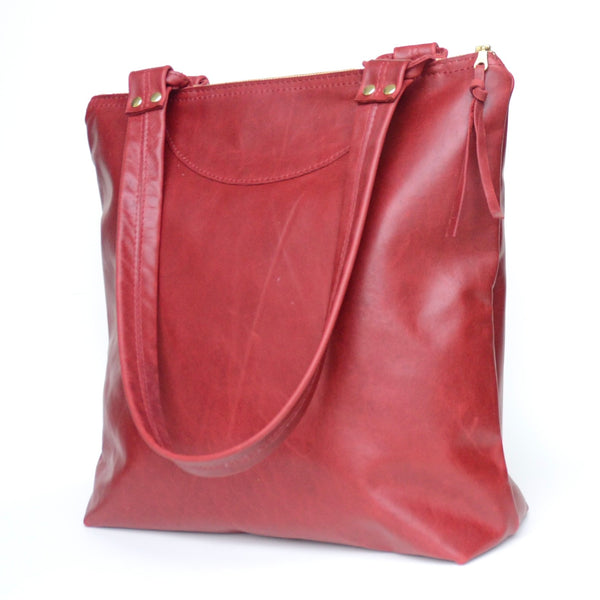morgan tote: sustainable collection: crimson