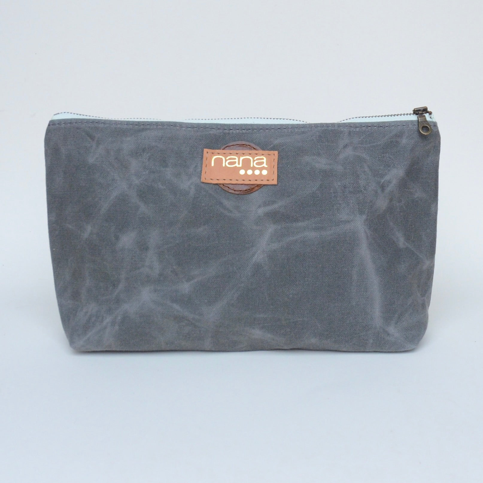 waxed canvas touring pouch: steel grey