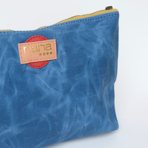 waxed canvas touring pouch: azure