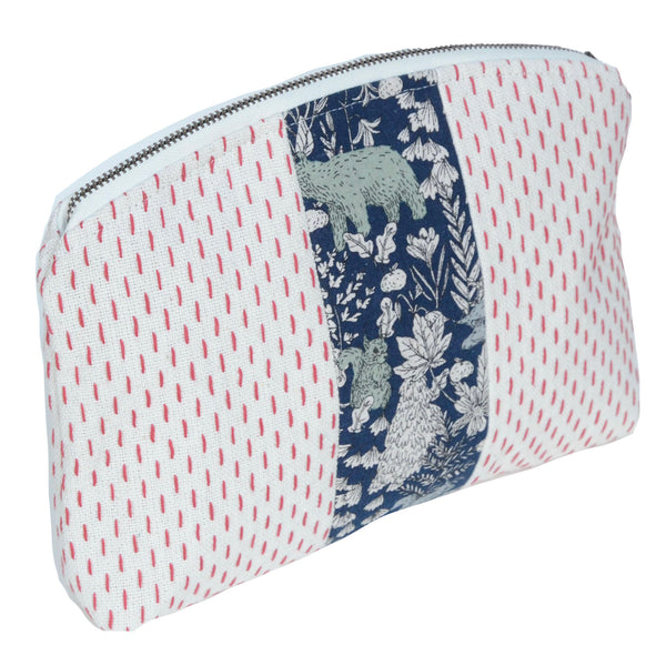 medley pouch: red stitching with forest animals
