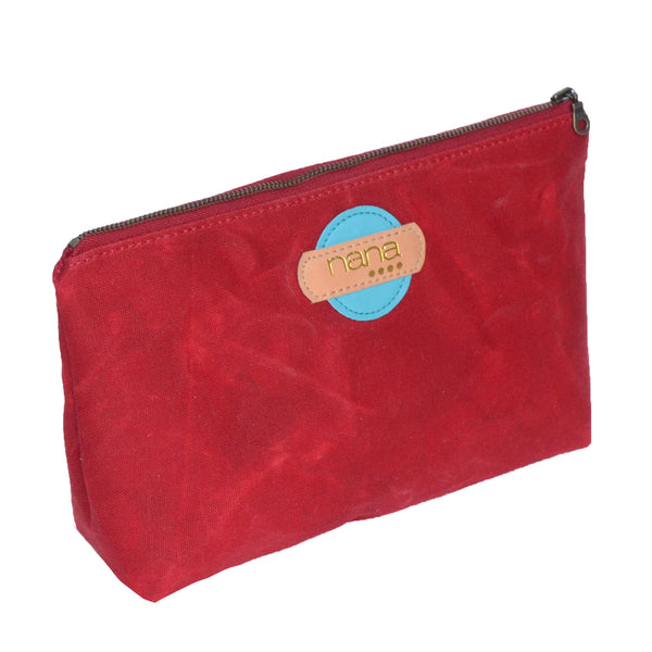 waxed canvas touring pouch: cranberry