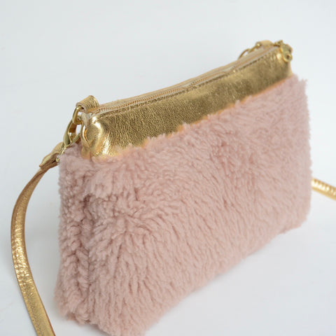 fluffy shearling crossbody/clutch: blush + gold