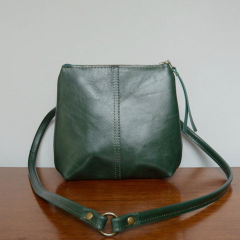 mini leather crossbody: spruce