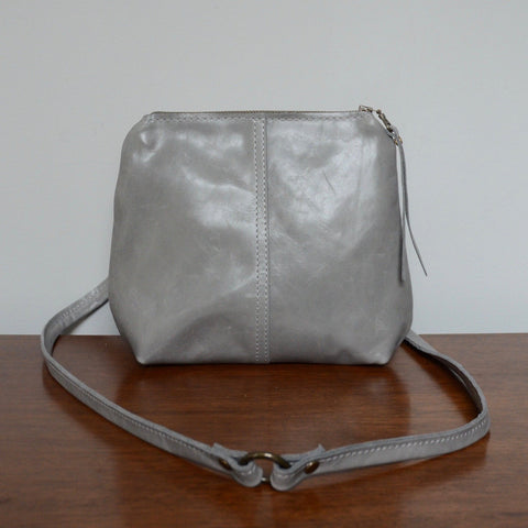 mini leather crossbody: lava grey