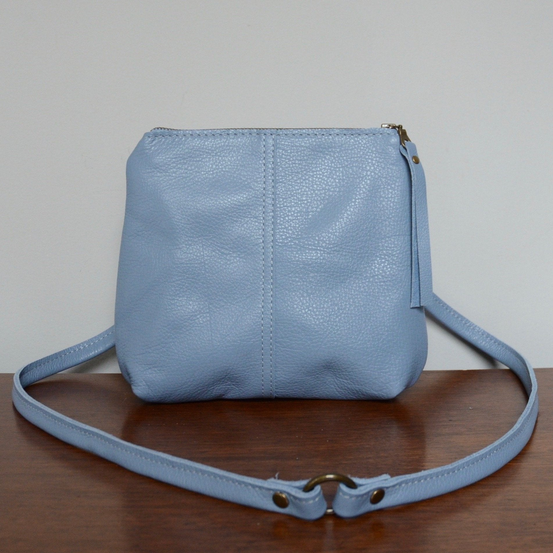 mini leather crossbody: sky blue