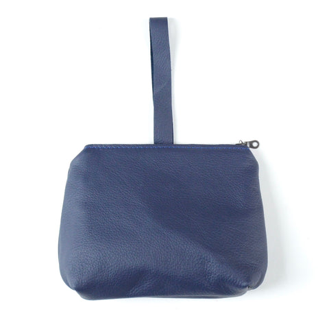 leather dumpling wristlet: navy
