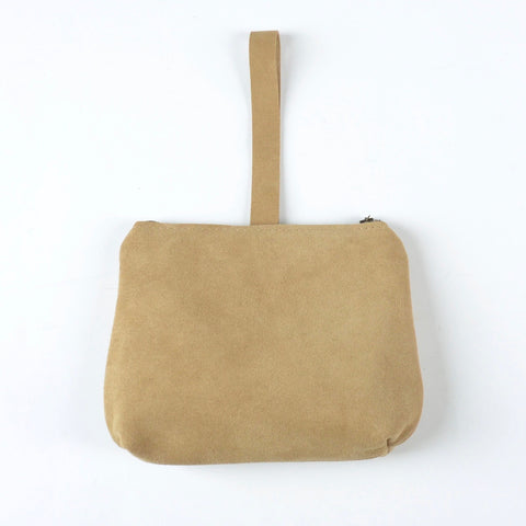 leather dumpling wristlet: sand suede