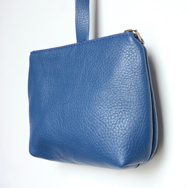 leather dumpling wristlet: azure