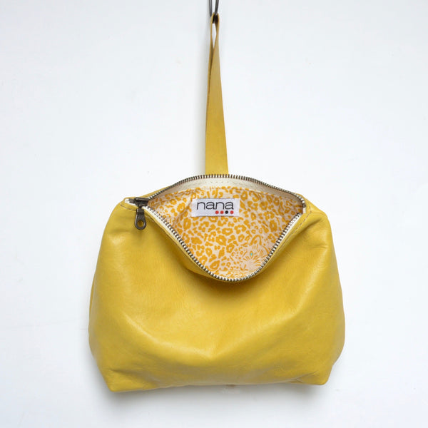 leather dumpling wristlet: pineapple