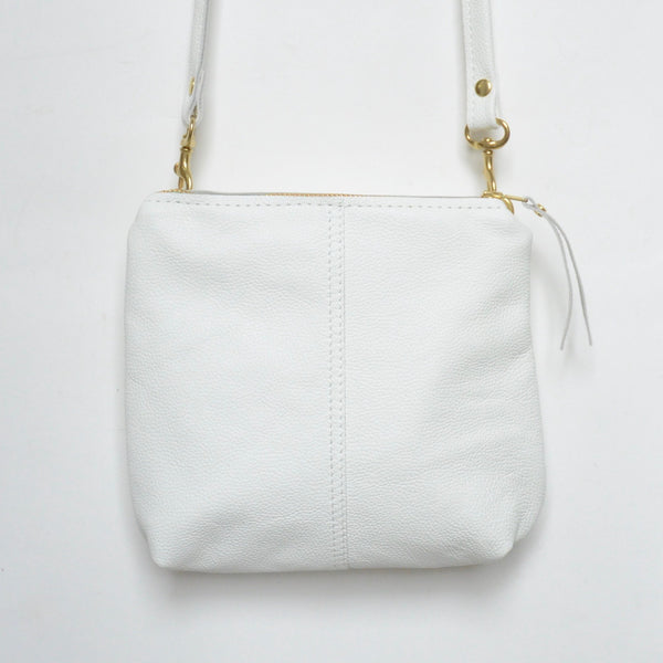 mini leather crossbody: white