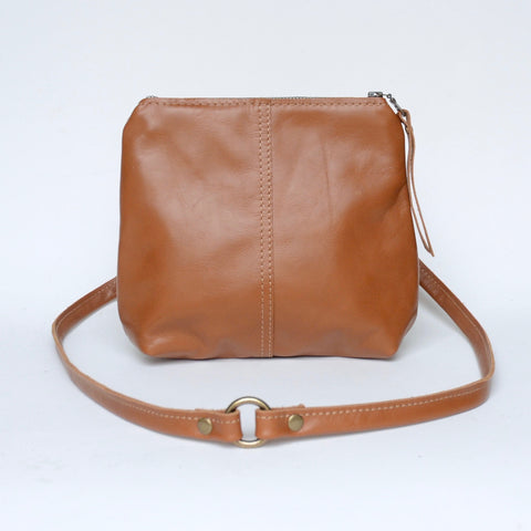 mini leather crossbody: russet