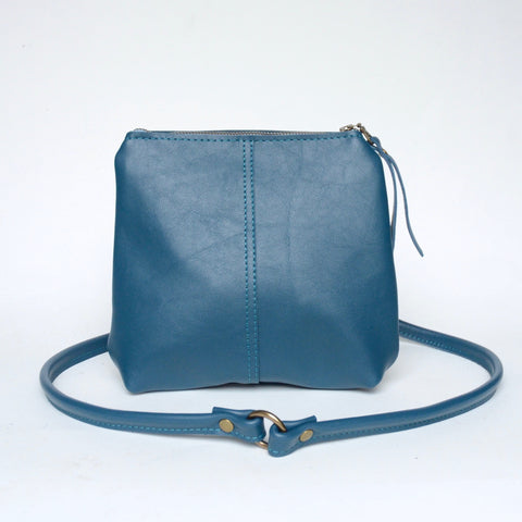 mini leather crossbody: celadon