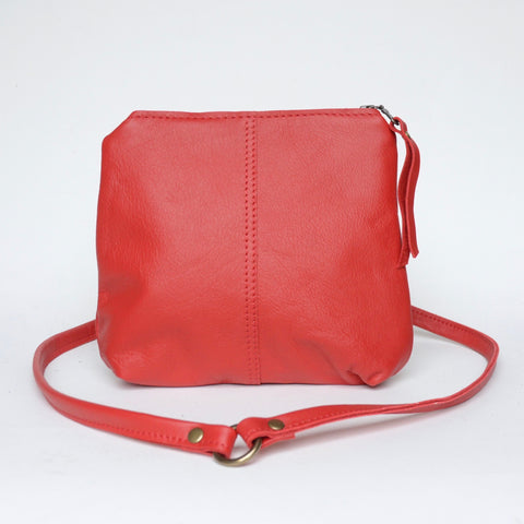 mini leather crossbody: crimson