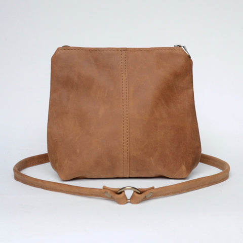 mini leather crossbody: distressed tawny