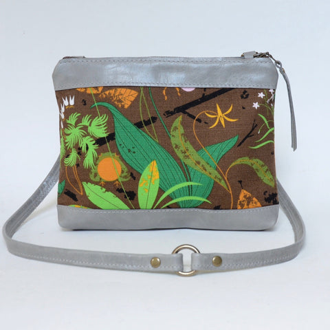 fabric + leather crossbody: tropical