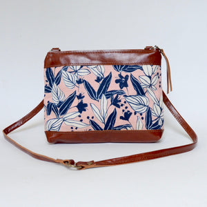 fabric + leather crossbody: pink tropical