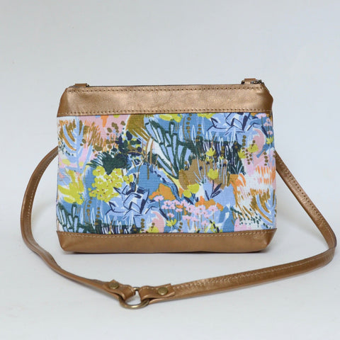 fabric + leather crossbody: painterly floral