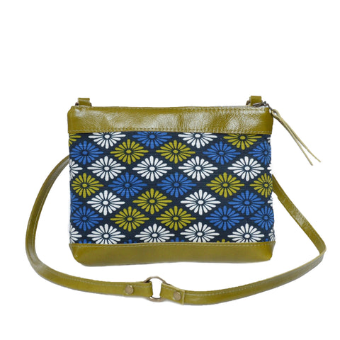 fabric + leather crossbody bag: mod floral