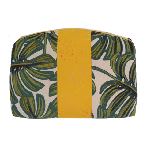 medley pouch: large green tropical leaf