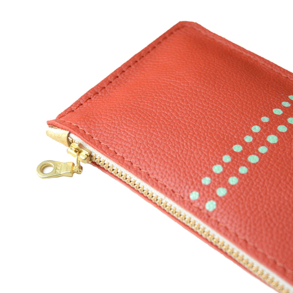hand painted leather mini zip: mint dots