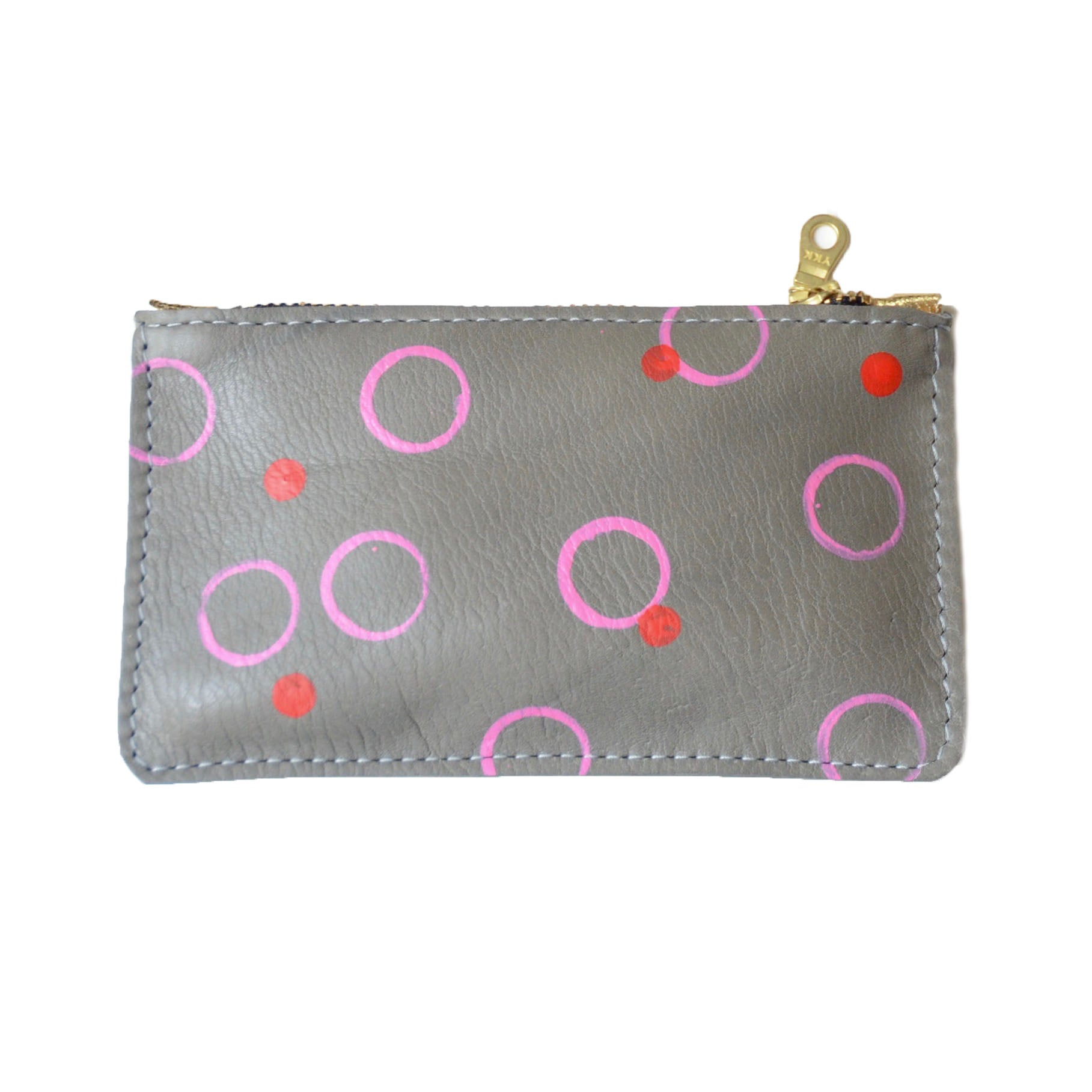 hand painted leather mini zip: pink and red circles