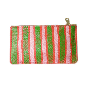 hand painted leather mini zip: green and pink stripes