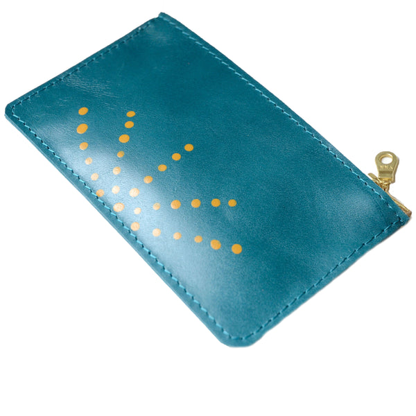 hand painted leather mini zip: teal with orange dots