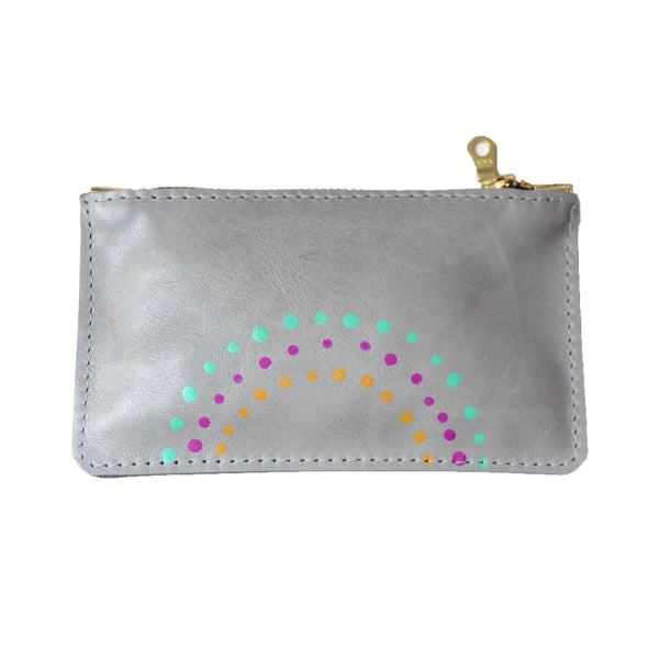 hand painted leather mini zip: grey with mint, magenta and mustard dots