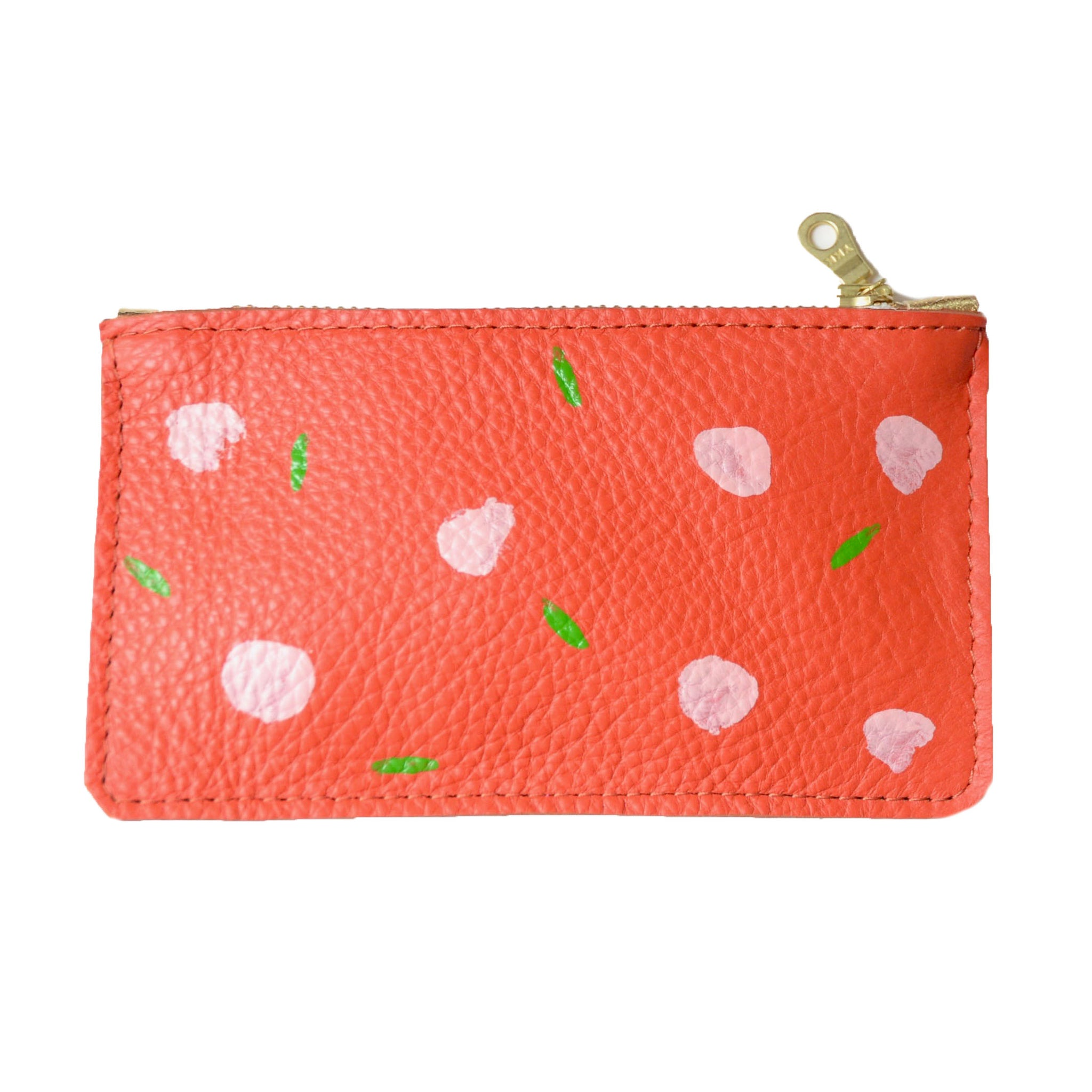 hand painted leather mini zip: tangerine with pink and green