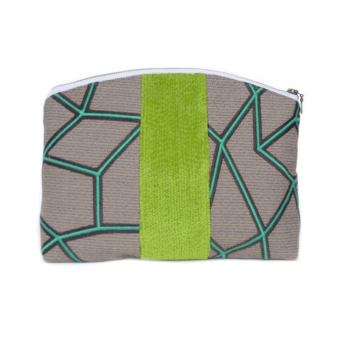 medley pouch: green geometric/lime green velour
