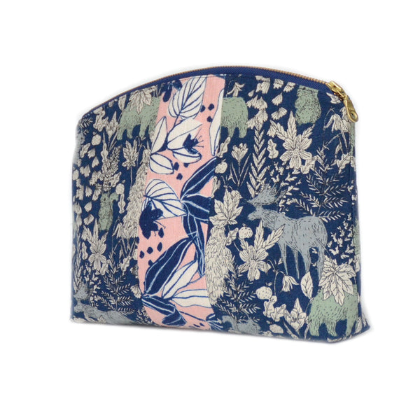 medley pouch: blue forest animals/pink and blue tropical