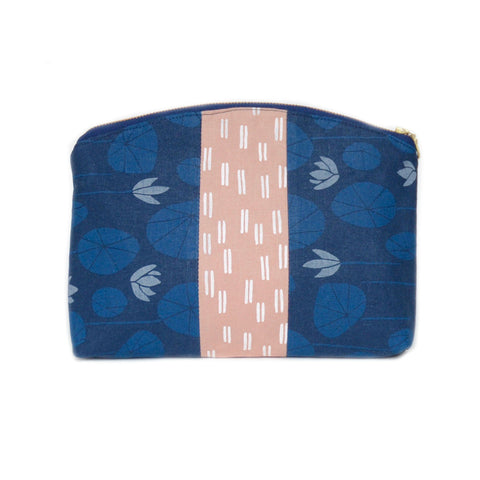 medley pouch: blue lily pads/blush pink