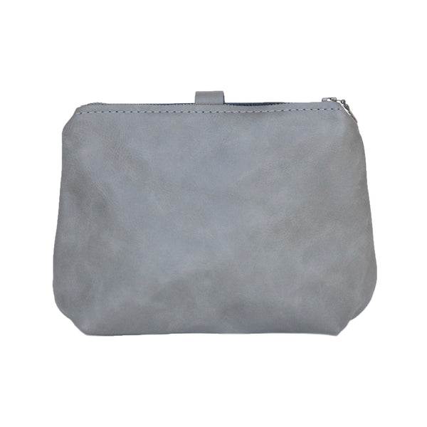 leather dumpling wristlet: charcoal (black/cream interior)