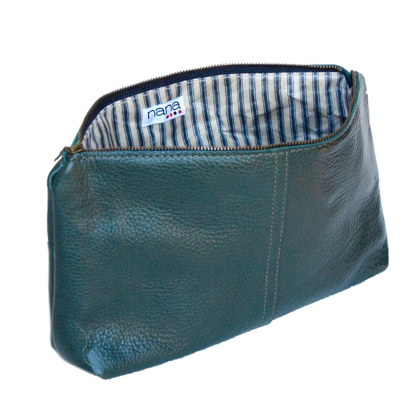 leather touring pouch: forest green pebbled