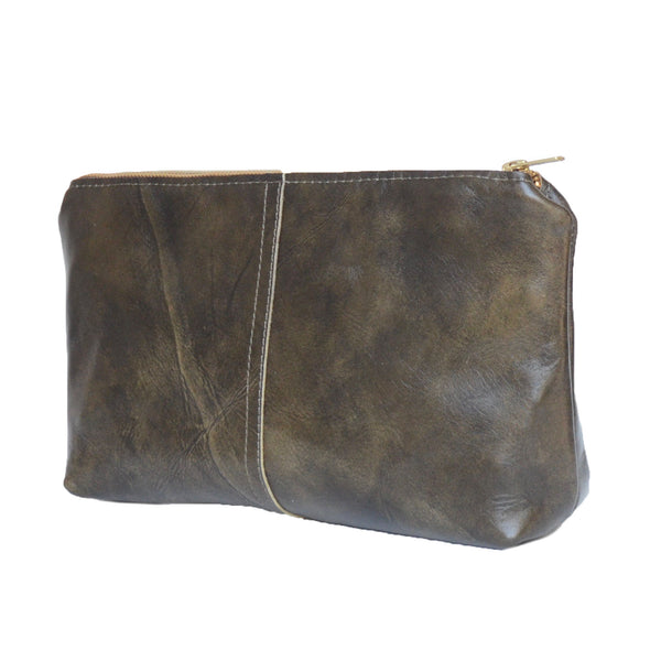 leather touring pouch: seaweed