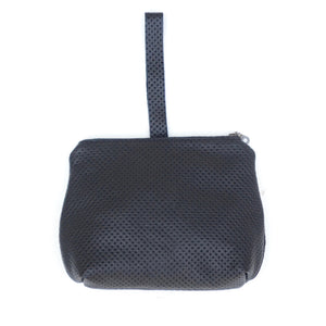 leather dumpling wristlet: perforated black (blue interior)