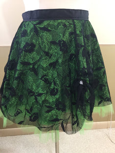 Black and Green Lace Punk Skirt