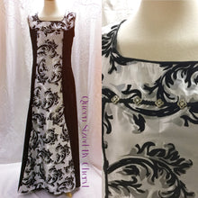 Load image into Gallery viewer, Black and White Velvet Sleeveless Gown