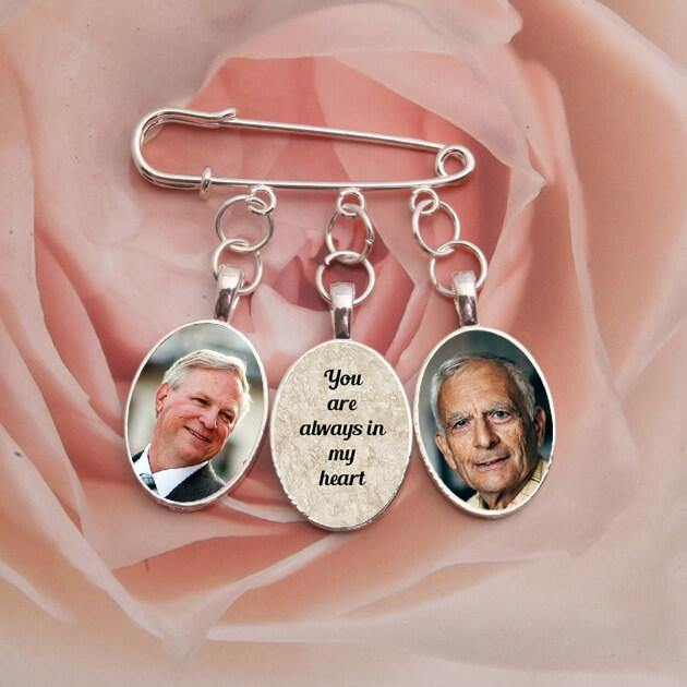 bridal bouquet memorial photo charm