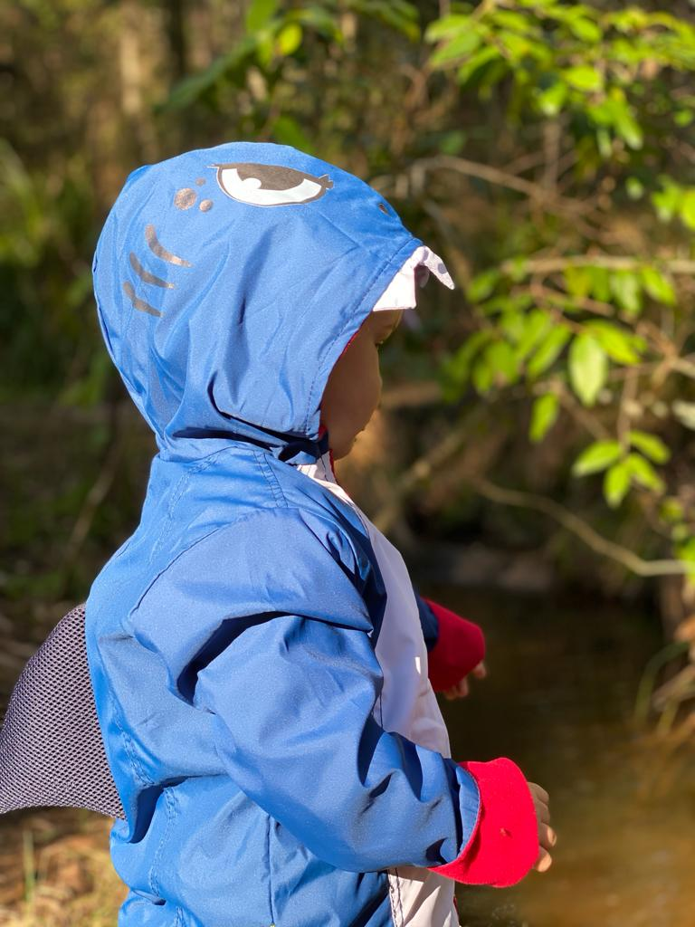 Kids Blue Shark Raincoat Jacket with Fin - Water Resistant