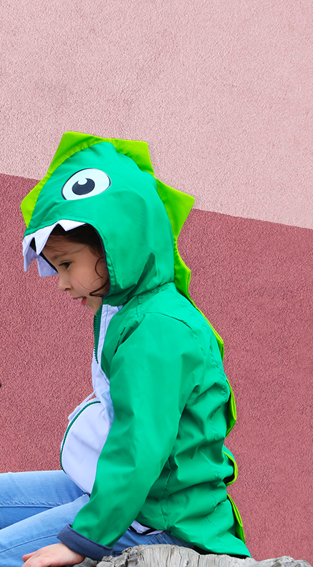 Kids Green Dragon Raincoat Jacket - Water Resistant