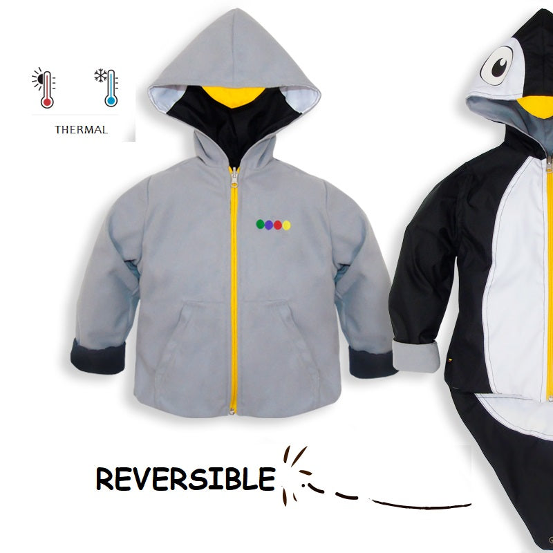 Kids Penguin Black and White Raincoat Jacket - Water Resistant