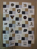 West Point CUSTOM Quilt -  Handmade Embroidered - All American Made Fabrics