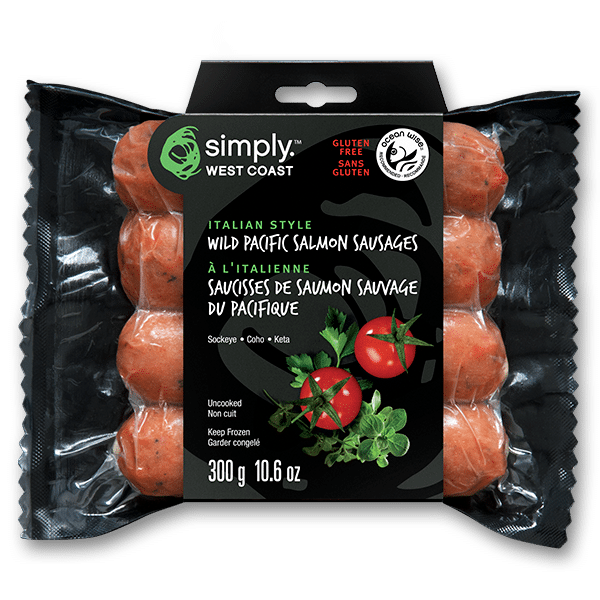 Wild Salmon Sausages – Italian (10 per box) - Simply West Coast